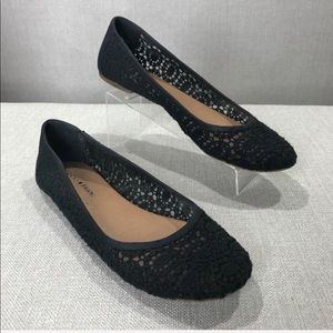 LUCKY BRAND Black Edmonda Crochet Lace Ballet Flat